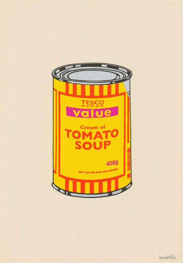 banksy-soup-can-banana-orange-hot-pink
