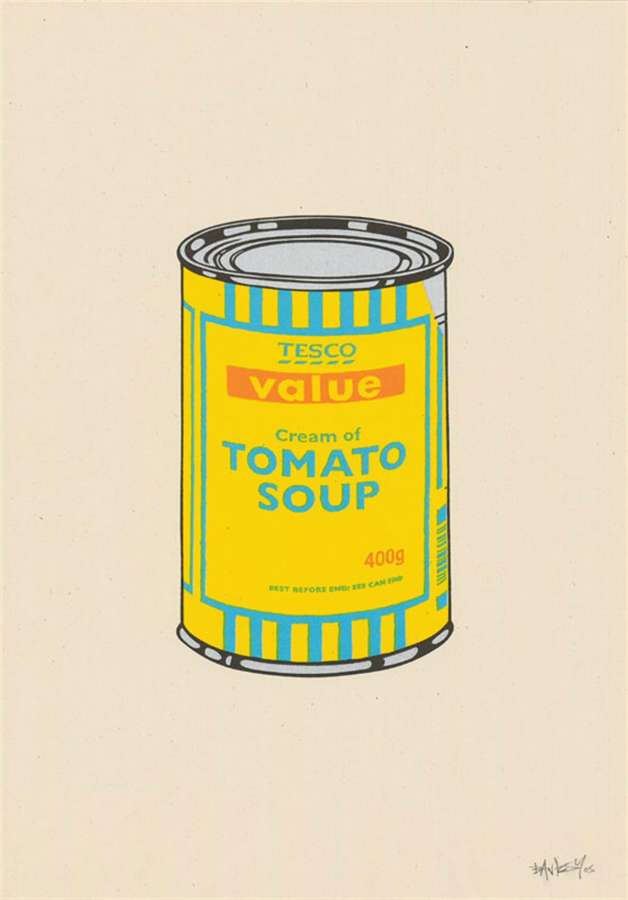 banksy-soup-can-yellow-blue-tan