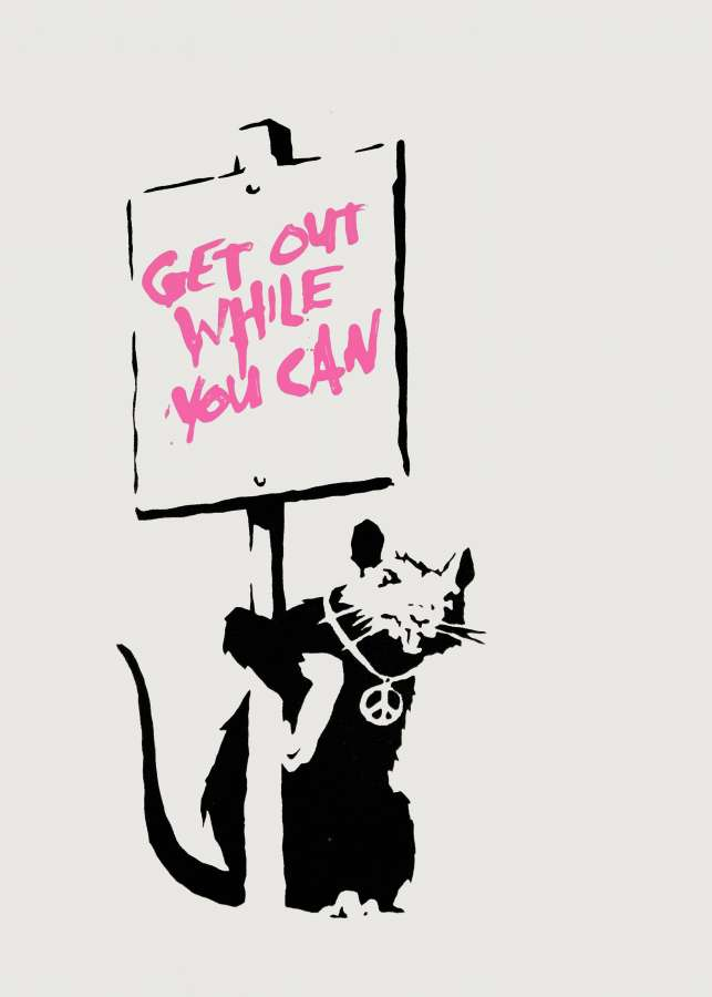 Banksy_Get_Out_While_You_Can_PINK